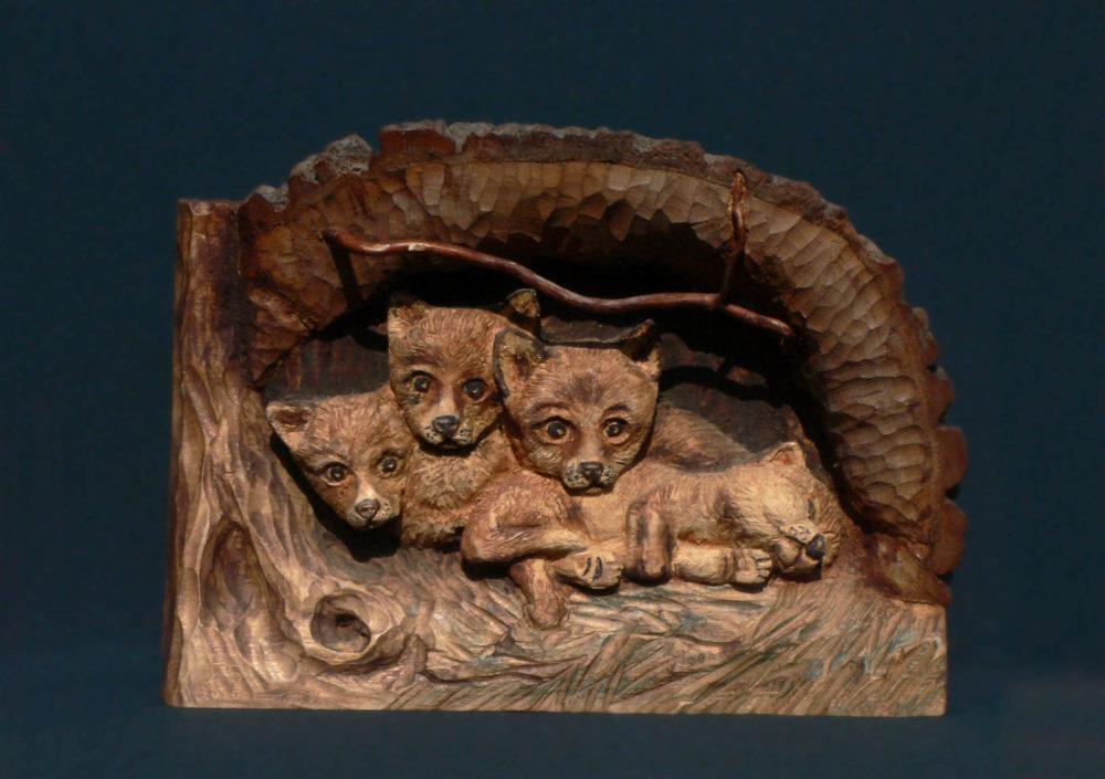 Kis rókák fa falikép